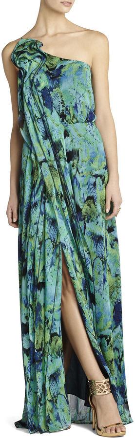 BCBGMAXAZRIA Nalda One-Shoulder Long Ruffle Dress