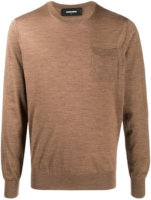 DSQUARED2 D2 embroidered crew neck jumper