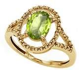 Tommaso design Studio Tommaso Design Oval 8x6mm Genuine Peridot and Diamond Ring 14k Size 4.5