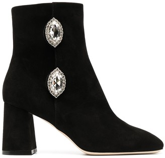 Giannico Julie embellished suede 75mm boots