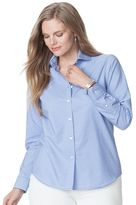 Chaps Plus Size No-Iron Striped Broadcloth Shirt