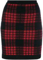 Balmain plaid high waist skirt