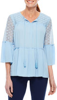 Sag Harbor Denim And Chambray 3/4 Sleeve Bell Sleeve Solid Peasant Top