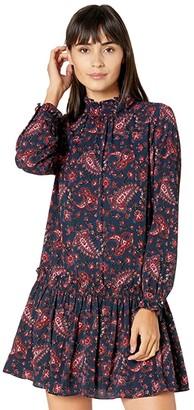 La Vie Rebecca Taylor Long Sleeve Madeleine Dress (Midnight Navy Combo) Women's Clothing