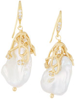 Indulgems Large Golden Vine Keshi Pearl Drop Earrings