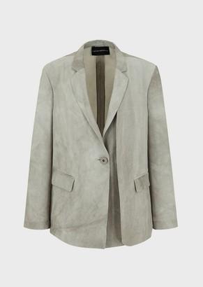 Emporio Armani Blazer In Marbled Fabric
