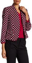 Nine West Printed Inverted Notch Collar Blazer