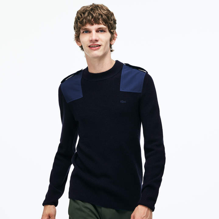 d0ce1bca22 Men's Crew Neck Colorblock Ribbed Wool And Cotton Sweater