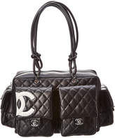 Chanel Black Quilted Lambskin Leather Cambon Reporter