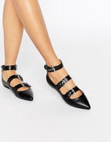 London Rebel Multi Buckle Point Shoe