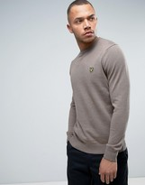 Lyle & Scott Crew Sweater Cotton Merino Knit Eagle Logo in Brown Marl