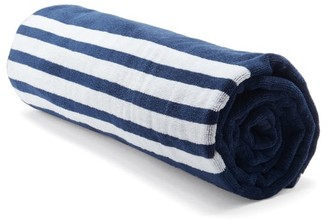Thom Browne 4-bar And Tri-colour Tag Cotton-terry Towel - Navy