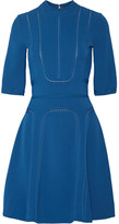 Elie Saab Pointelle-trimmed Stretch-ponte Dress - Cobalt blue