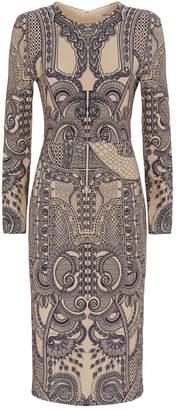 Roberto Cavalli Henna Print Pencil Dress
