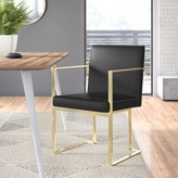 Dexter Upholstered Dining Chair Willa Arlo Interiors Upholstery Color: Faux Leather Black, Frame Color: Gold