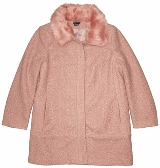 City Chic Women's Apparel Women's Plus Size Boucle Fitted Coat with Faux Fur Collar Trim