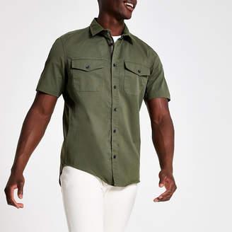 River Island Khaki regular fit short sleeve utility shirt