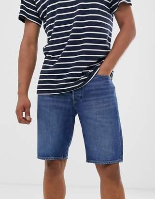 Levi's 501 straight fit standard rise hemmed denim shorts in nashville mid wash-Blue