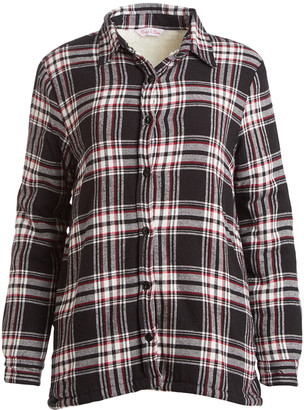 River & Rose Women's Button Down Shirts BLACK/RED-340 - Black & Red Plaid Sherpa-Lined Button-Up Jacket - Women