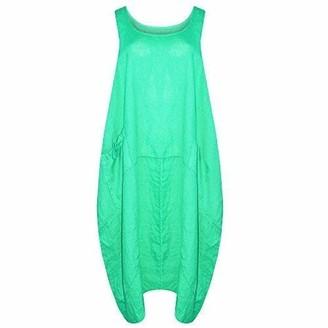 CELEB LOOK H86 Celebmodelook New Ladies Women Italin Lagenlook Quirky Sleeveless One Side Pocket Linen Midi Size Plus Dress Jade Green