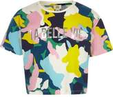 River Island Girls navy multicolour camo cropped T-shirt