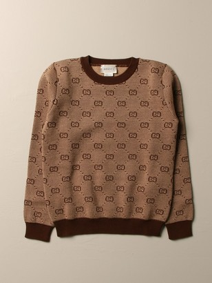 Gucci Crewneck Sweater With All Over Gg Supreme Pattern