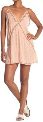 Free People Chloe Embellished V-Neck Mini Slip Dress