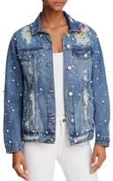 Sunset + Spring Embellished Distressed Denim Jacket - 100% Exclusive