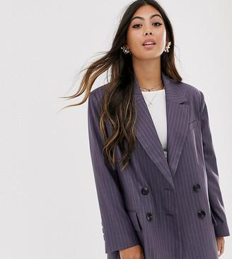 Asos DESIGN Petite dad suit blazer in purple pinstripe-Multi