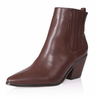 AIIT Women's Chunky Mid Heel Ankle Boot Shoe Brown Size7
