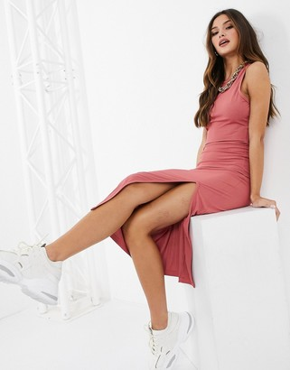 UNIQUE21 racer neck ribbed midi dress in pink