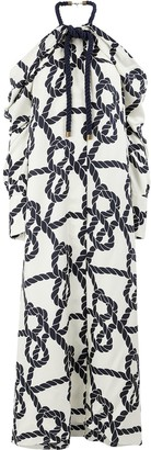 Monse rope print cold-shoulder dress