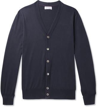 Brunello Cucinelli Contrast-Tipped Cotton Cardigan