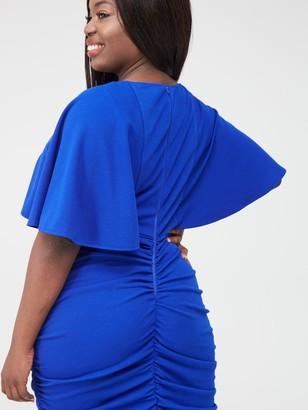Ax Paris Curve Ruched Side Midi Dress - Cobalt