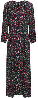 Anna Sui Pintucked Bow-detailed Floral-print Crepe Maxi Dress