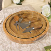 Dibor Four Piece Wood And Glass Cheese Serving Set