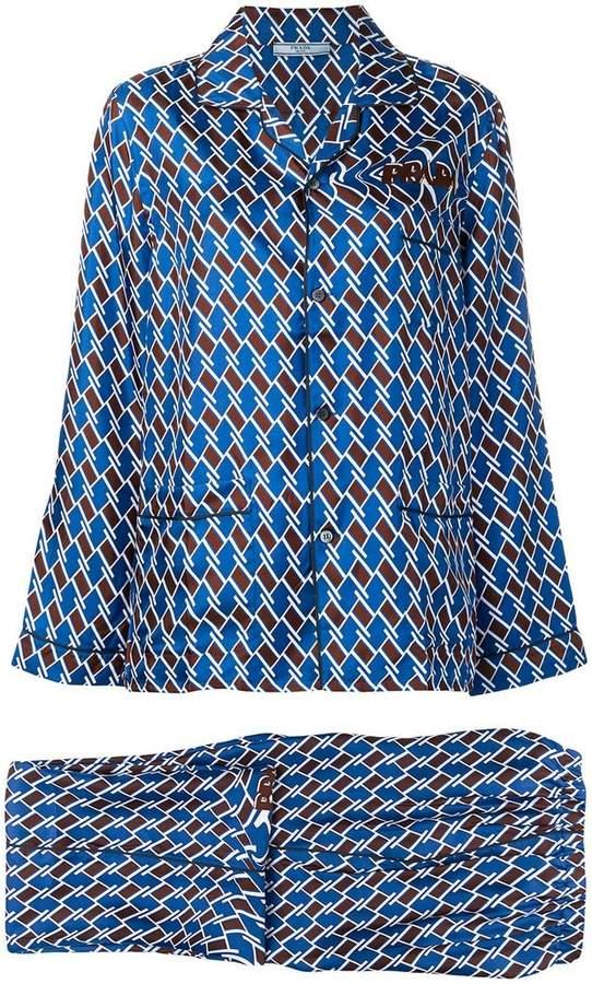 Argyle print twill pyjamas