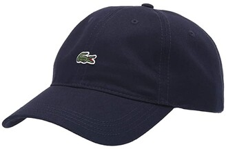 Lacoste Little Croc Twill Leatherstrap Cap (Flamingo Pink) Baseball Caps