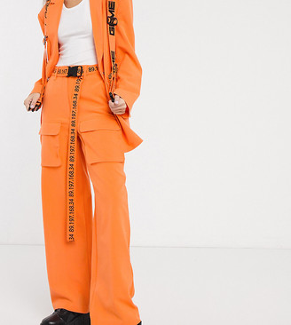 Collusion wide leg cargo pants with typo belt