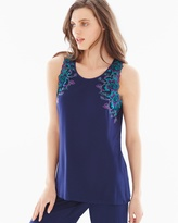 Soma Intimates Sensuous Lace Floral Pajama Tank Navy/Rainforest