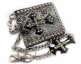 vogueteen Mens Studded Gothic Skull Cross Biker Rocker Leather Wallet Purse with Chain