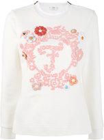 Fendi long-sleeved embroidered sweatshirt - women - Silk/Cotton/Lamb Skin/plastic - 38