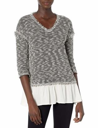Blu Pepper Women's Long Sleeve Knit Layered Style Sweater