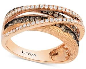 LeVian Le Vian Chocolatier Diamond Multi-Band Crisscross Ring (9/10 ct. t.w.) in 14K Rose Gold