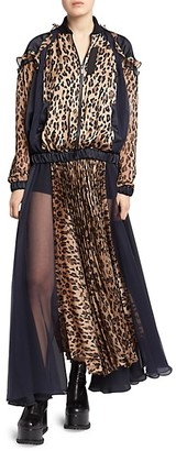 Sacai Leopard Satin Chiffon Pleated Dress