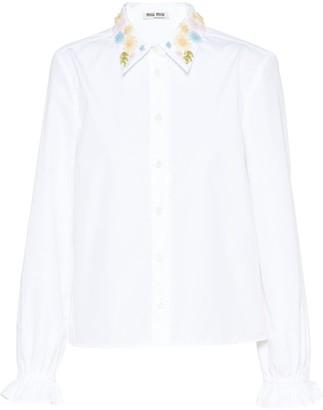 Miu Miu floral embroidered poplin shirt