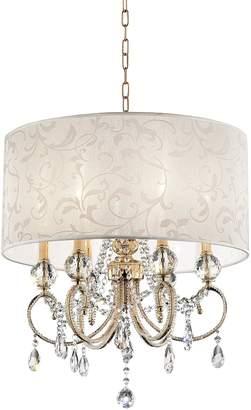 "o.r.e International Inc. K-5155H 24.5"" Aurora BAROCCO Shade Crystal Gold Ceiling LAMP"