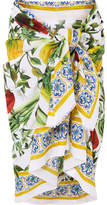 Dolce & Gabbana Printed Cotton-voile Pareo - Green