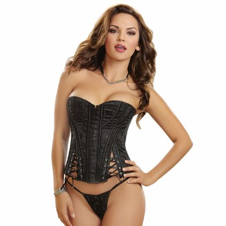 Dreamgirl Women's Sexy and Slimming Strapless Embroidered Satin Corset with Lace-Up Details and Matching Thong Black