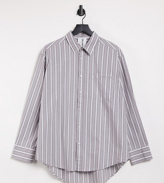 Collusion Unisex oversized shirt in grey stripe